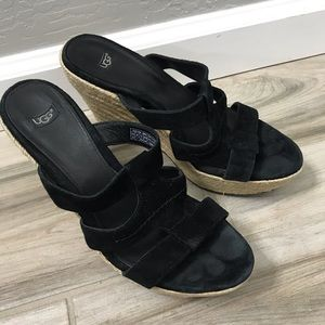UGG Black Slip On Wedges Size 8.5